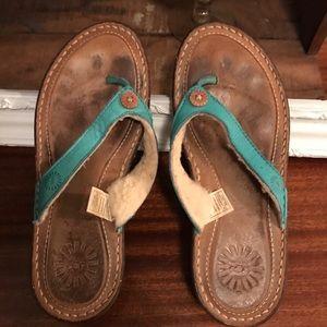 Ugg sandals.   Turquoise. Size 6.  Euc.